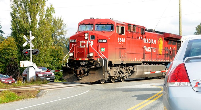 A train makes its way through a level crossing in Langley, tying up traffic. On Jan. 26, City Council voted to send a letter to the manager of the Roberts Bank Rail Corridor project, demanding the fulfillment of a promise to install electronic signs that warn drivers of approaching trains so they can choose an alternate route.