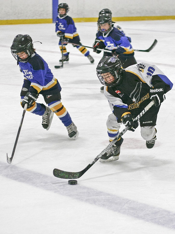 Elam Paquette (no. 10) of the Langley H4C3 Warriors heads for the goal pursued by defenders from the Port Coquitlam Destroyers in Sunday action at the Sportsplex during the Jordan Owens Memorial hockey tournament March 14 to 18. Langley won 4-1.