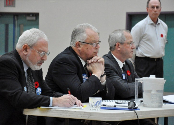 Township mayor candidates Mel Kositsky, Rick Green and Jack Froese answered questions at a mayors' forum on Thursday, Nov. 10.