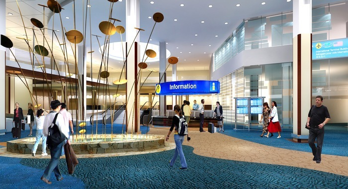 Rendering of future new atrium within airport scheduled for completion in 2015.