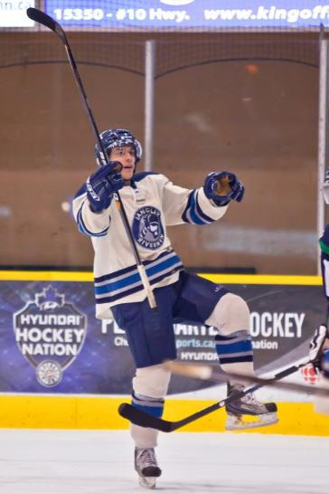 Langley Rivermen's Darnell Dyck celebrates after scoring against the Surrey Eagles at the South Surrey Arena in BCHL action.