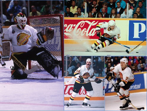 Clockwise from above: Kirk McLean, Cliff Ronning, Jyrki Lumme and Dave Babych, who all played key roles on the Vancouver Canucks run to the 1994 Stanley Cup finals, will be in Langley on Jan. 4 as part of the Vancouver Canucks alumni squad. The team will face off against the junior B Langley Knights in a charity game with proceeds going to Sophie's Place.