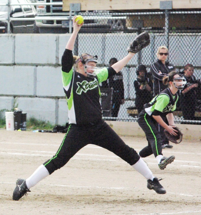 Langley Xtreme's Kate Dolinski delivers a pitch against the Fleetwood Force.
