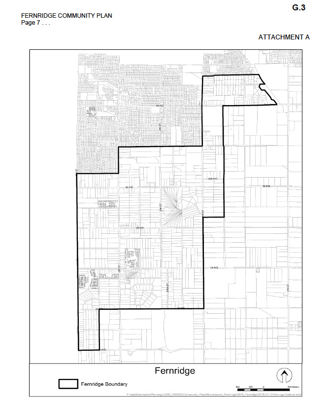 The boundary drawn here is theundeveloped  areas of Fernridge that Township council will focus on when creating the community plan.