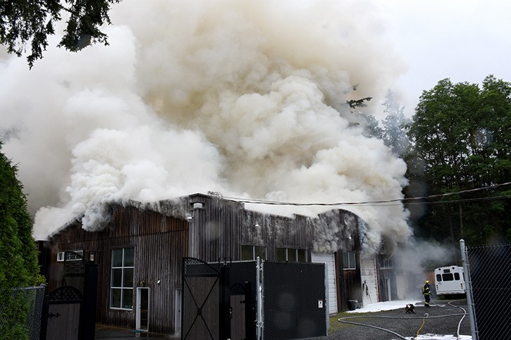 A fire broke out in this Langley warehouse on Thursday morning.