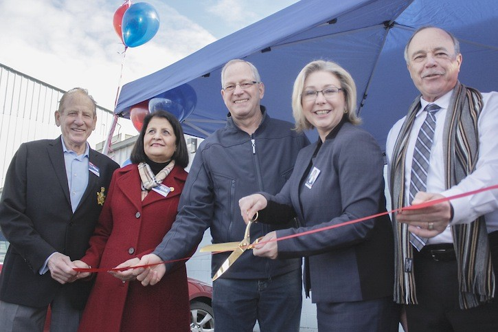 With 108 days to go before the May 9 election, Langley MLA Mary Polak opens her campaign office in Langley city. (L to R) Campaign co-chairs George Miller and Manjit Gill, Township mayor Jack Froese, Polak, City mayor Ted Schaffer.