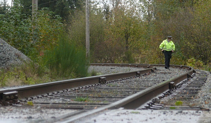 An RCMP officer patrols the tracks next to a rural Langley Township site on 72 Avenue near 240 Street where forensic and homicide police were called Sunday afternoon.