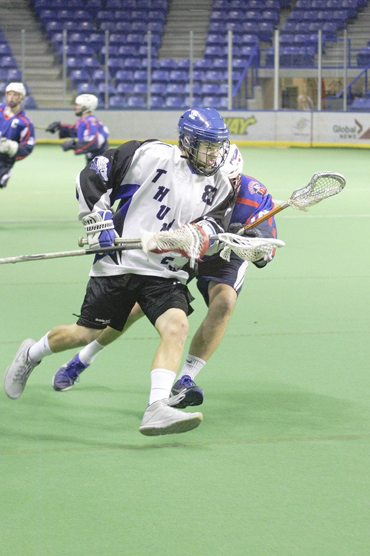Langley Thunder's Connor McNeill attempts to cut to the goal against Maple Ridge during B.C. Intermediate Lacrosse League action at the Langley Events Centre on May 25. The Thunder lost 20-3 and are having a tough start to the season with one victory in 10 games.