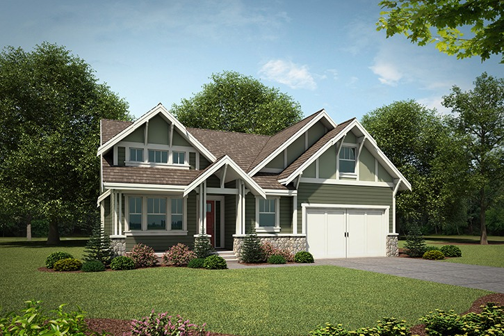 Stunning views are just one of the beautiful features at Odessa Group's Harrison Highlands. Recreation opportunities are just minutes away, and the homes offer excellent curb appeal due to their Craftsman architecture.