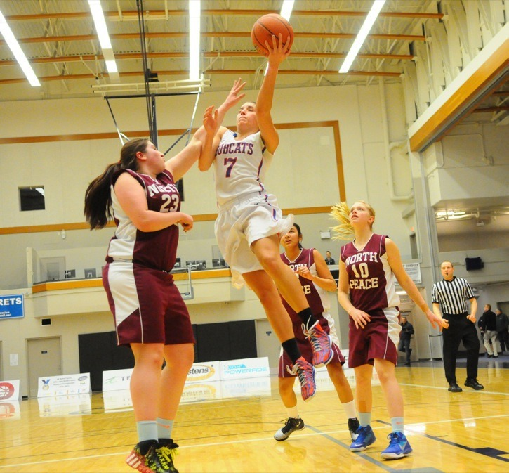 Brookswood Bobcats' Aislinn Konig soars to the hoop during her team's opening round victory over North Peace at the 3A senior girls provincial basketball championships. The top-ranked Bobcats are in the semifinals at the Langley Events Centre with Konig leading the way with an average of 36 points over the first two games.