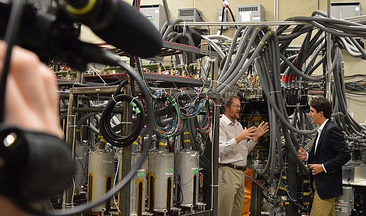 Liberal leader Justin Trudeau tours General Fusion reactor prototype in Burnaby last week.