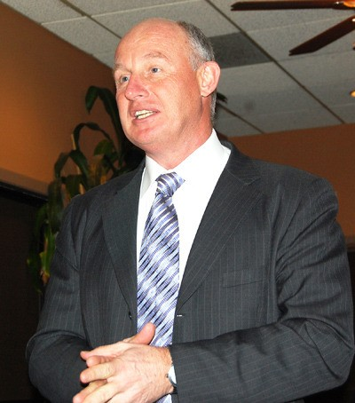 Mike Farnworth, MLA for Port Coquitlam and one of six candidates for the NDP leadership, spoke on Thursday in Langley.