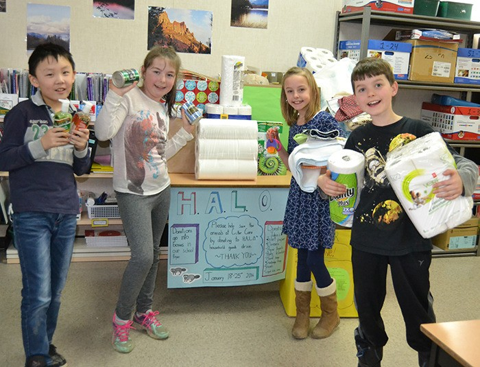 Alex Hope Elementary Grade 4 students, from left, Raymond Shi, Jordis Klyne, Danica Bateman and Ryan Burns organized a donation drive to help  orphaned animals at Critter Care.