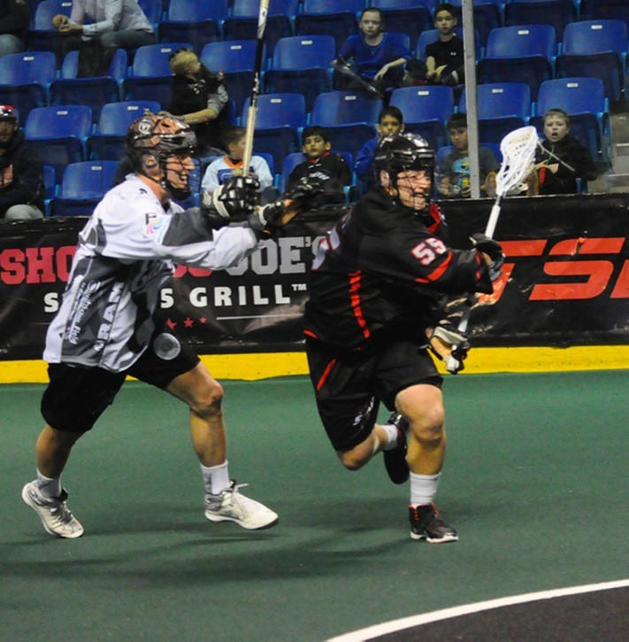 Vancouver Stealth's Joel McCready, in action against the Edmonton Rush on April 4 at the Langley Events Centre, came up with a hat trick as the Stealth snapped a six-game losing streak with a huge 11-9 road victory over the New England Black Wolves.
