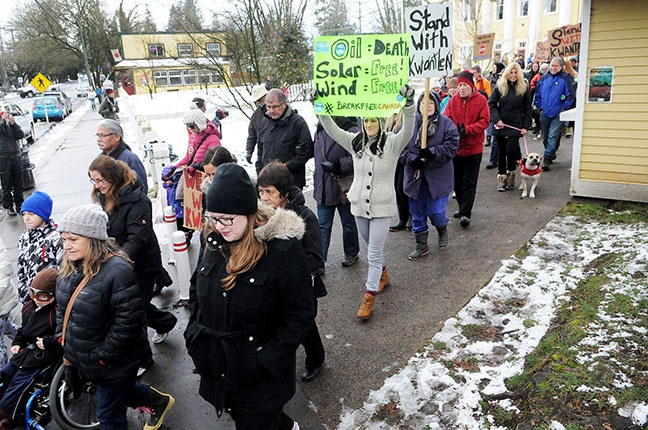 People walked from the Fort Langley Community Hall to the Fort Langley National Historic Site during Sunday afternoon's protest against the expansion of the Kinder Morgan pipeline.