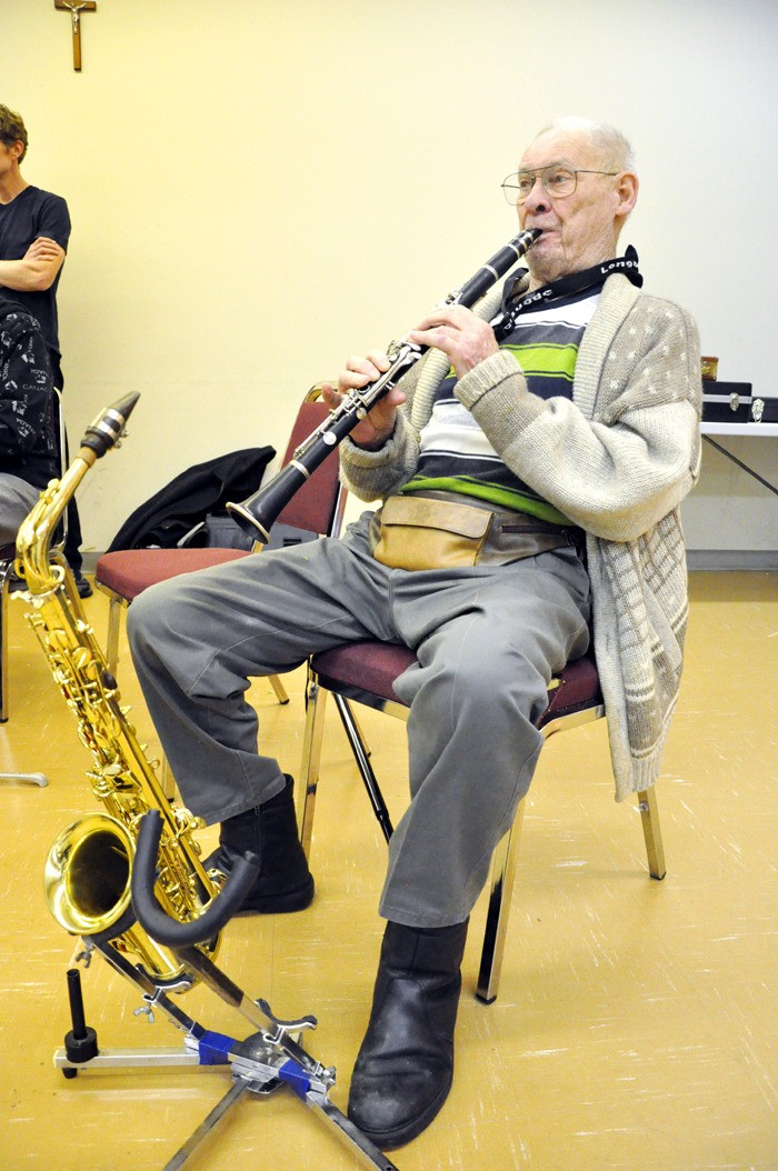 Al Wilgrube, 93, of the Merry Music Makers meets with other senior musicians every Tuesday at St. Joseph's Parish to play their favourite standards from the 1930s and '40s.