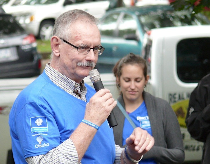 Langley Township Coun. Charlie Fox shared his own story at the first kidney walk to be held in Fort Langley.