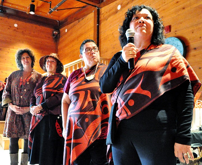 From left: Langley school trustee Rosemary Wallace, Laurie Brummitt, Cheryl Gabriel and Donna Robins attend the signing of the third Aboriginal Education Enhancement Agreement on Oct. 8. The ceremony took place in the Kwantlen Cultural Centre and included a feast, calling of witnesses, agreement signing, gift giving and traditional songs.