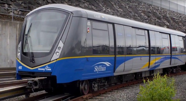 TransLink's first Mark III SkyTrain, which has been in testing.