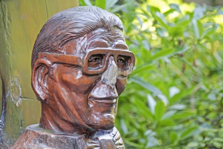 This carved statue of Langley City's first elected mayor, Ernie Sendall, was vandalized in early July. It is located at the popular Sendall Gardens Park on 50 Avenue in Langley City. City officials have already repaired the damage and the statue is as good as new. Sendall served as mayor from 1955 to 1959.