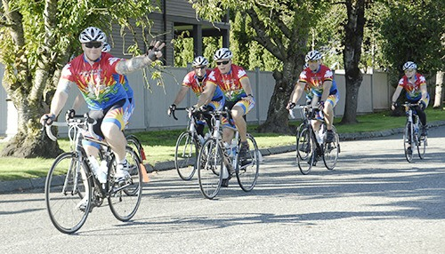 Cops for Cancer riders blast through Abbotsford on Monday. Participants are set to travel over 800 kilometres over nine days.