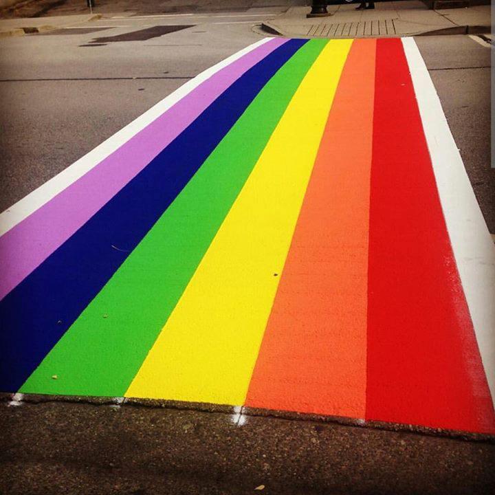A rainbow crosswalk in New Westminster.