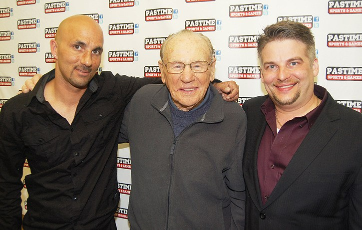 Men of Hope Charity Poker Challenge organizer Andy Bhatti (left) with Hockey Hall of Fame goalie Johnny Bower and Pastime Sports & Games president Ken Richardson, at the Aldergrove Legion hall, Saturday evening.