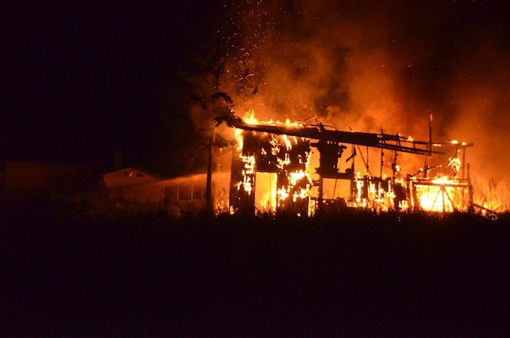 No word yet on what caused a fire that destroyed an abandoned garage in the 20500 block of 69 Ave. on Sunday night at 11 p.m.