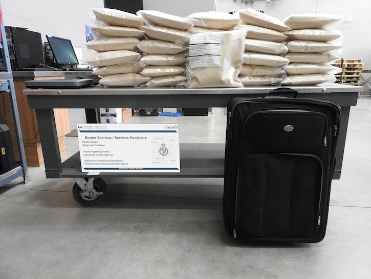 CBSA officers stopped 31 kg of meth from entering Canada at the Aldergrove border crossing on Dec. 11. A 42 -year-old Abbotsford man was arrested.
