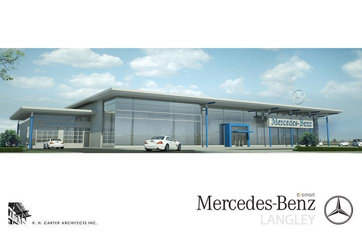 An artist rendering of the new Mercedez-Benz Langley dealership set to open on Sept. 6.