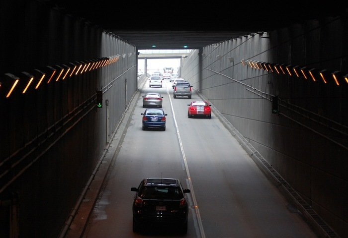 The northbound view inside the George Massey Tunnel.