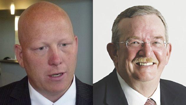 Port Coquitlam Mayor and Metro board chair Greg Moore (left) and Burnaby Mayor Derek Corrigan (right).
