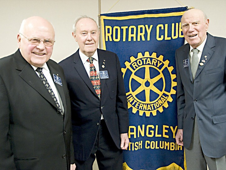 Rotary Club of Langley pioneers Roy Brown, Les Clay and Eric Bysouth gathered when the club marked its 50th anniversary in 2008. A memorial service for Mr. Bysouth, who passed away Oct. 13, takes place this Saturday at 2 p.m. at Sharon United Church.