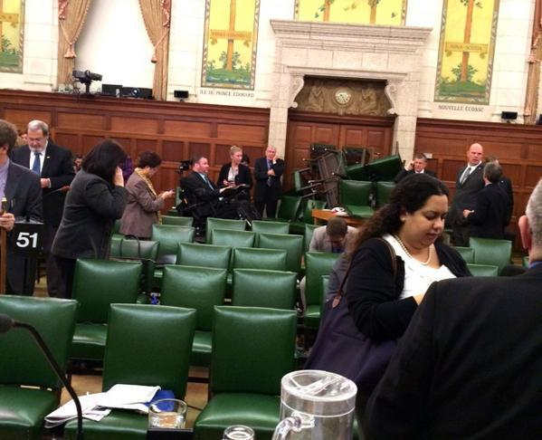 A photo taken in the Reading Room inside the House of Commons in Ottawa following Wednesday morning's shooting shows doors barricaded with furniture.
