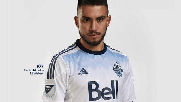 Vancouver Whitecaps star Pedro Morales models the team's new primary uniform – a slight alteration on the shoulders, with a whole new 'blue mountain' chest piece and collar.