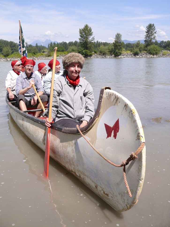 One of the canoes that re-created the 1800s arrival of the fur brigades at Fort Langley.