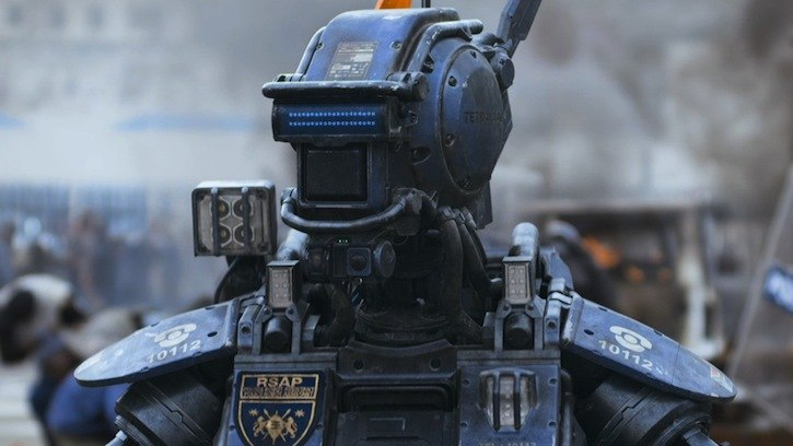 Sharlto Copley voies the robot Chappie, in director Neil Blomkamp's hoped return to critical form.
