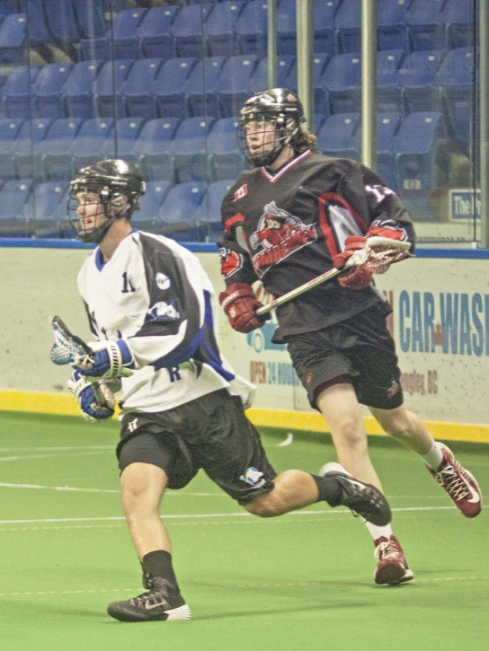 Connor Abrams and the Langley Junior Thunder played the visiting Nanaimo Junior Timbermen to a 10-10 tie on June 7 at the Langley Events Centre. The Thunder also won their previous game, 15-14 over the Delta Islanders to stop a five-game losing streak.