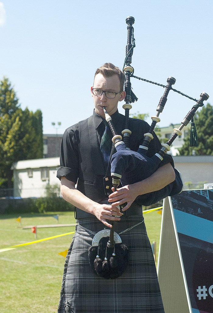 Caleb McIntyre opened last summer's Highland Games, organized by the Langley Christian Life Assembly, which took place at Douglas Park Saturday as part of the City's 2014 Community Day celebrations. This year's celebration, which happens Saturday, will mark the City's 60th birthday.