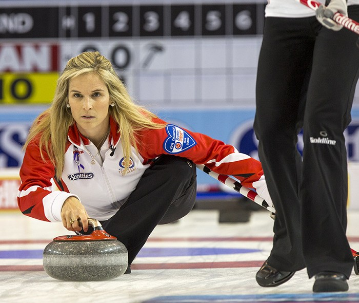 CANADA SKIP JENNIFER Jones in the semifinal game at the 2016 Scotties Tournament of Hearts, the Canadian Womens Curling Championships, in Grande Praire, Alta. A host committee is planning to put in bid to win the right to bring the event to Penticton in 2018.
