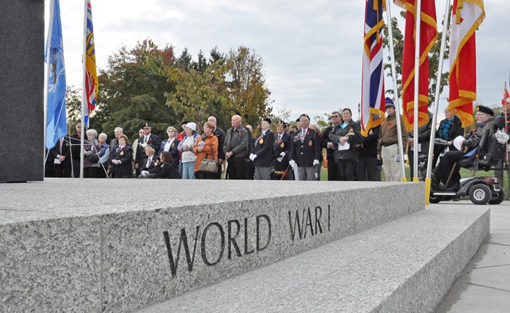 Members of the Langley Legion and Langley City and Township officials gathered around the new cenotaph at Douglas Park for the public prayer and dedication ceremony. The Remembrance Day ceremony will be held here at 11 a.m. on Friday, Nov. 11.