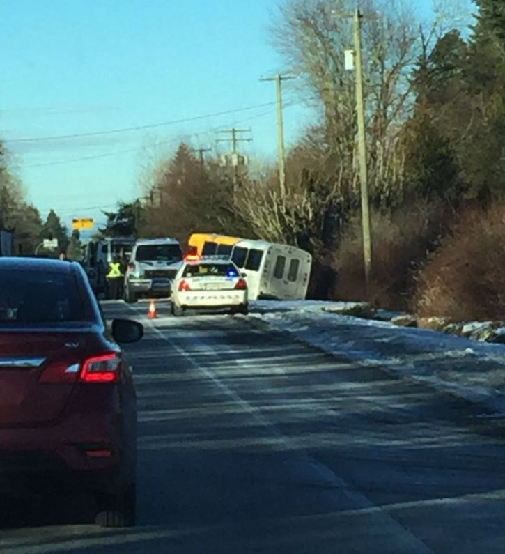 A HandyDart slid into the ditch on Tuesday morning. No one was injured, said police.