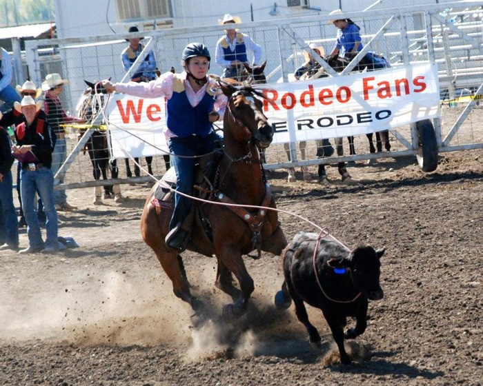 Sarah Wright competes in a roping event. The Langley woman is the only Canadian on the 50-member  rodeo team at Montana State University.