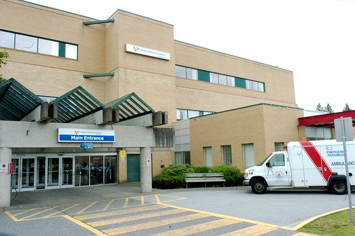 An ambulance sits outside Langley Memorial Hospital. Resident H. Cassap, who recently suffered a stroke, is filled with praise for the medical professionals — including paramedics and hospital staff at both LMH and Vancouver General Hospital — for the excellent care she received in the hours immediately  following the incident.