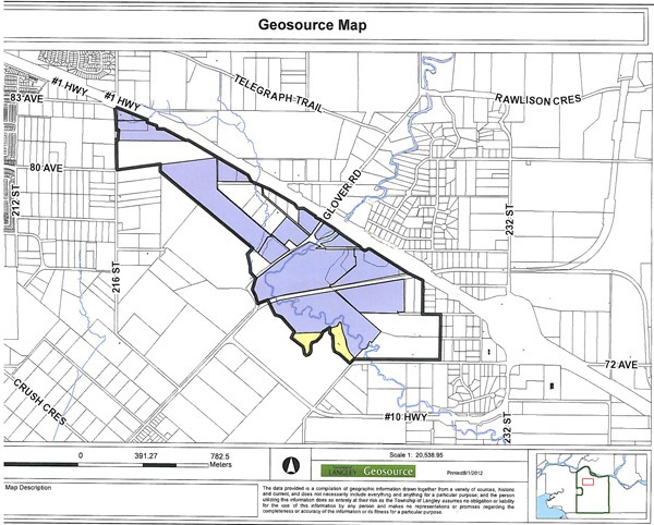 Bold outline delineates broadened limits of Trinity Western University's proposed university district. Parcels depicted in blue are owned by Trinity, the Township and the provincial government. White parcels are still in private hands, and the yellow portion denotes the portion of the Wall property that is destined for housing.