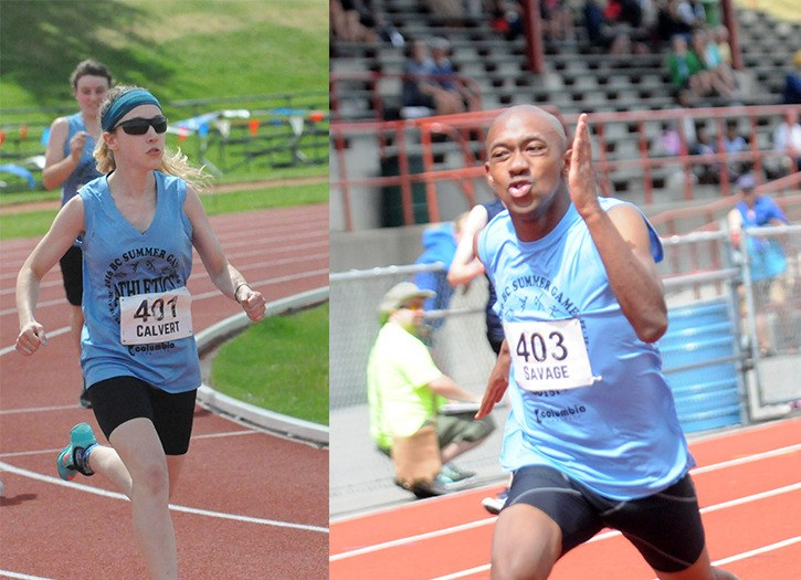 Langley's Abigale Calvert (above left) and Michael Savage combined to win three gold, six silver and three bronze medals in Special Olympics athletics at the BC Summer Games in Abbotsford last month.