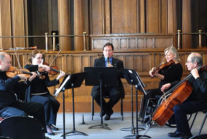 LCMS artistic director emeritus Ian Hampton,right, joins fellow Arioso Strings colleagues Max Ngai, violin, Luiza Nelepcu, violin, Frances Dodd, viola at LCMS on Jan. 13.