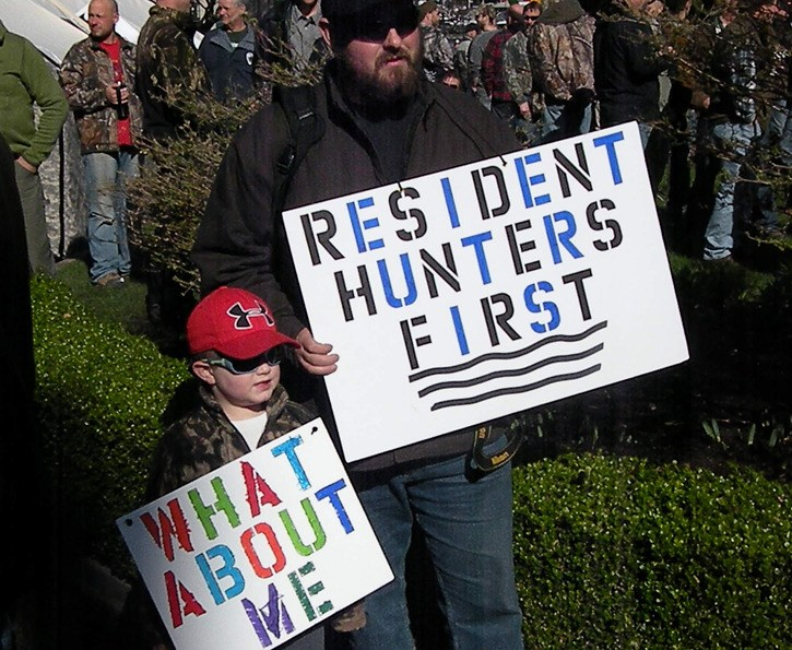 Greg Rensmaag and his son Connor travelled from Maple Ridge to Victoria to join a hunter rally at the B.C. legislature Monday.