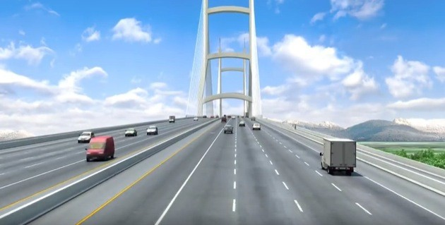 Rendering of proposed new 10-lane bridge to replace the George Massey Tunnel.