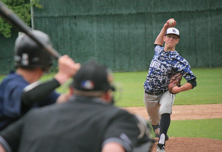 Langley Blaze pitcher Brayden Bouchey delivers a pitch during his team's 8-2 victory over the Victoria Mariners on Sunday at McLeod Park. Bouchey pitched a complete game.